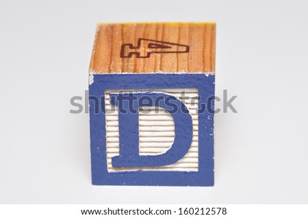 Alphabet block D isolated on a white background - stock photo