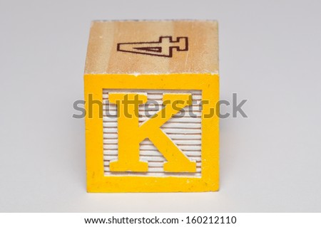 Alphabet block K isolated on a white background - stock photo