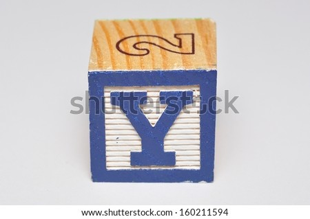 Alphabet block Y isolated on a white background - stock photo