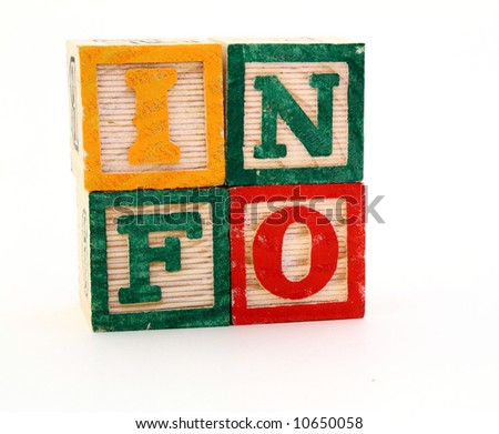 alphabet blocks forming the word info in a square format
