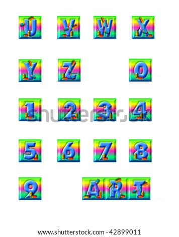 Alphabet blue letters get a makeover from some colorful colored pencils.  Letters and pencils sit on top of rainbow colored squares. - stock photo