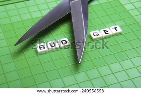 "Alphabet ""BUDGET"" with scissor on the green box platform  - stock photo"