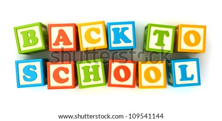Alphabet building blocks that spelling the word back to school