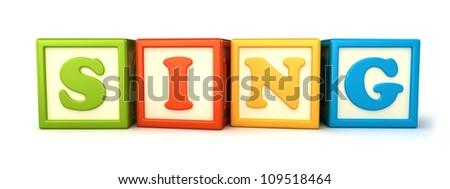 Alphabet building blocks that spelling the word sing - stock photo