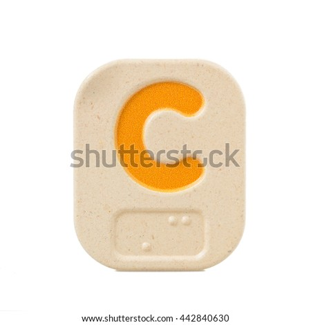 alphabet C on white background  with Braille. - stock photo