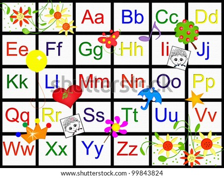 Alphabet Charts With Pictures Alphabet Chart Stock Photo