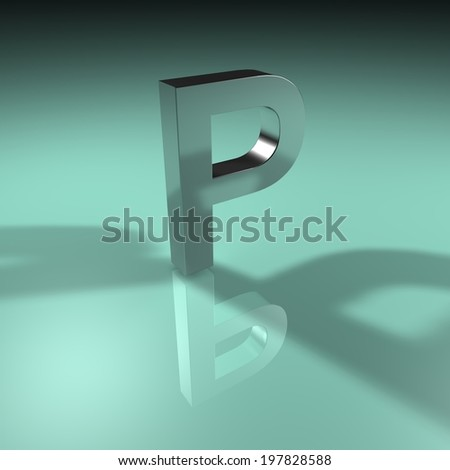 Alphabet collection, Green Turquoise. 3D - P  - stock photo