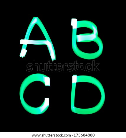 alphabet created with light (A, B, C, D) - stock photo