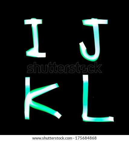 alphabet created with light (I, J, K, L) - stock photo