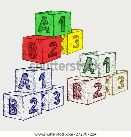Alphabet cubes with A,B,C letters and numerals. Doodle style. Raster version - stock photo