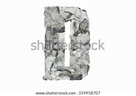 Alphabet D, created by a group of stone isolated on white background