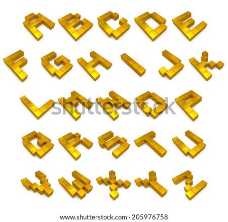 alphabet 3d cubic golden - stock photo