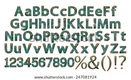 Alphabet - 3d letters from gold green metal with numbers. Objects over white - stock photo