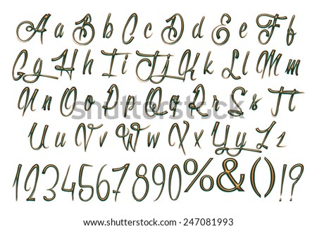 Alphabet 3 d letters gold green metal stock illustration 247081993 alphabet 3d letters from gold green metal with numbers objects over white altavistaventures Images
