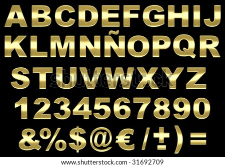 Alphabet 3d letters made of highly detailed brushed gold texture isolated against black background. IMAGE CONTAINS A CLIPPING PATH
