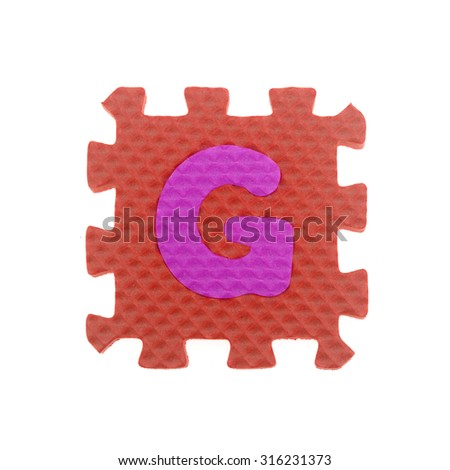 Alphabet D puzzle pieces on white background