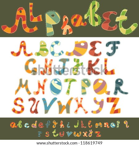 Alphabet Design In Fun Doodle Style Letters A Z Capital And Lower Case