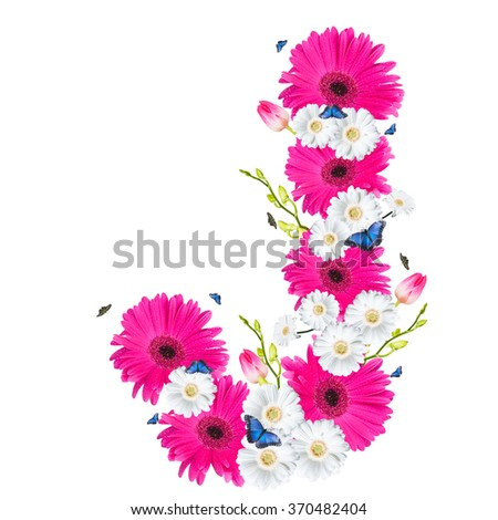 alphabet flower J, Gerber, tulips and butterfly isolated on white background.  - stock photo