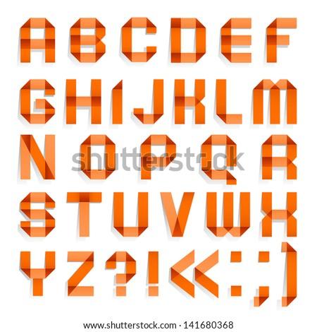 Alphabet Folded Colored Paper Orange Letters Stock Vector ...
