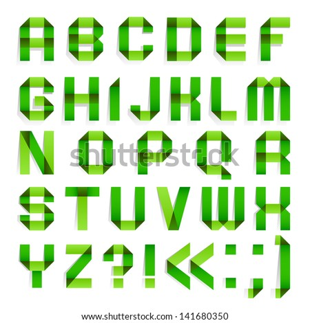 Alphabet folded paper - Green letters. Roman alphabet (A, B, C, D, E, F, G, H, I, J, K, L, M, N, O, P, Q, R, S, T, U, V, W, X, Y, Z). Vector version (eps) also available in gallery - stock photo