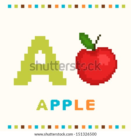 Alphabet for children, letter a and an apple isolated