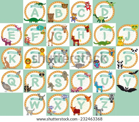 alphabet for kids from A to Z. Set of funny cartoon animals character. zoo.  - stock photo