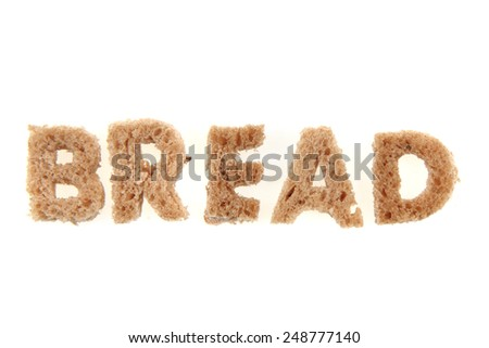alphabet from bread isolated on the white background (bread) - stock photo