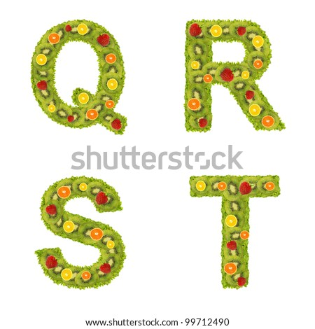 Alphabet from fruits isolated on a white background