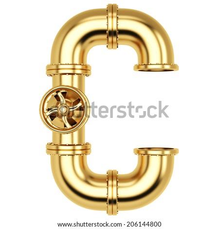 Alphabet from golden gas pipes. Isolated on white background. - stock photo