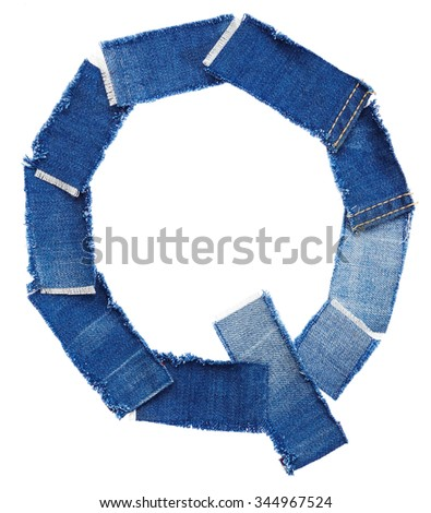 Alphabet from jeans fabric isolated on white background. Letter Q - stock photo