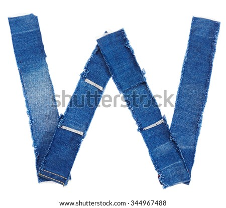 Alphabet from jeans fabric isolated on white background. Letter W - stock photo