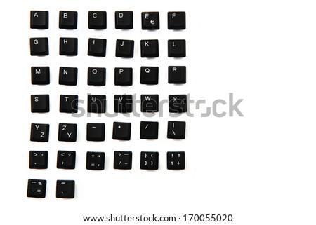 alphabet from keyboard keys isolated on the white background  - stock photo