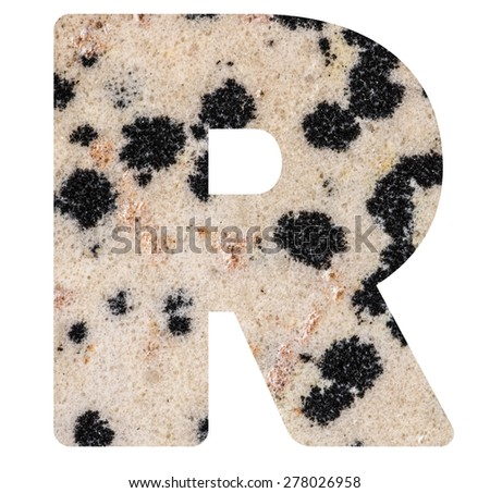 Alphabet from mineral porphyry  isolated on white background -  letter R. - stock photo