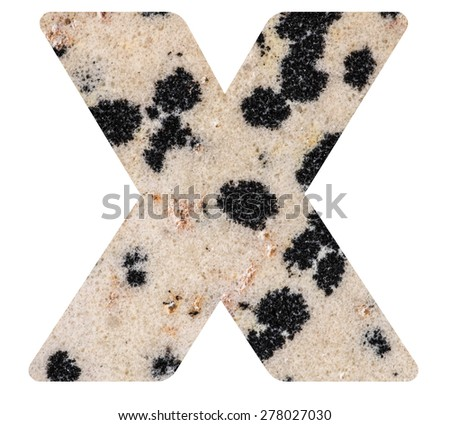 Alphabet from mineral porphyry  isolated on white background -  letter X. - stock photo