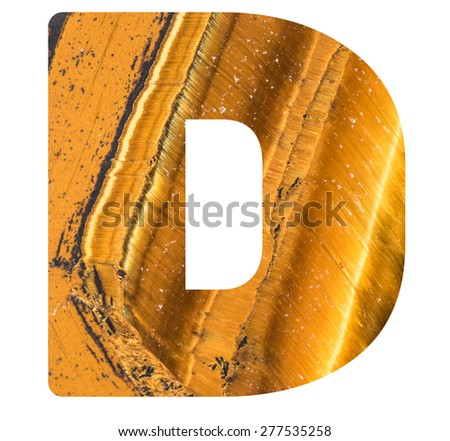 Alphabet from mineral tiger eye  isolated on white background -  letter D. - stock photo