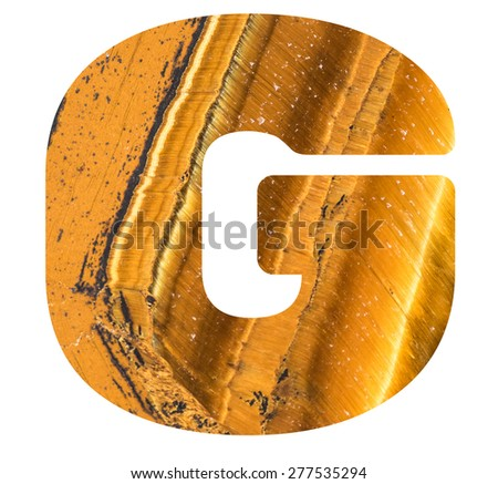 Alphabet from mineral tiger eye  isolated on white background -  letter G. - stock photo