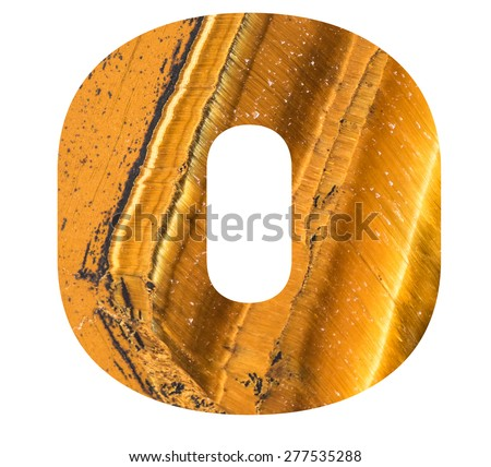 Alphabet from mineral tiger eye  isolated on white background -  letter O. - stock photo