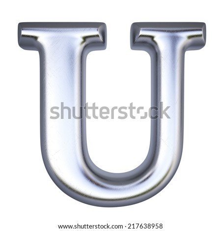 Alphabet from silver. isolated on white. - stock photo