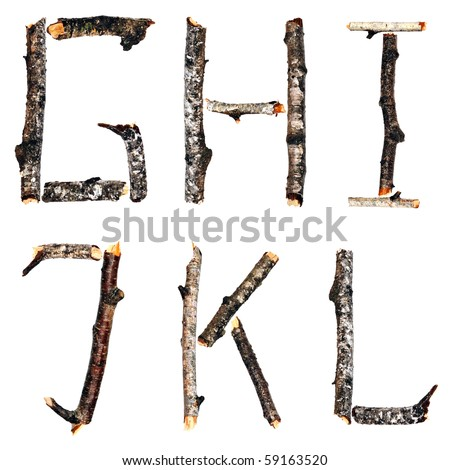 Alphabet from the dry branches of birch are isolated on a white background