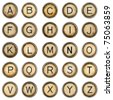Alphabet, grunge typewriter keys in white background - stock photo