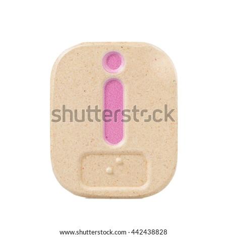 alphabet i on white background  with Braille. - stock photo