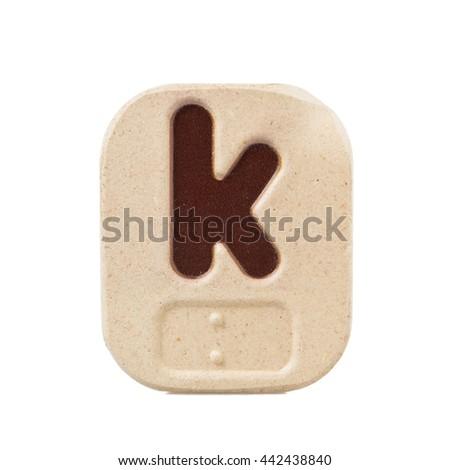 alphabet k on white background  with Braille. - stock photo