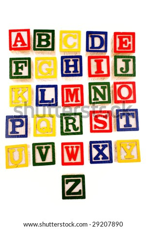 Alphabet learning blocks on white background
