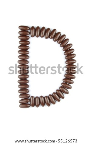 alphabet letter D with chocolate candies (isolated on white background)