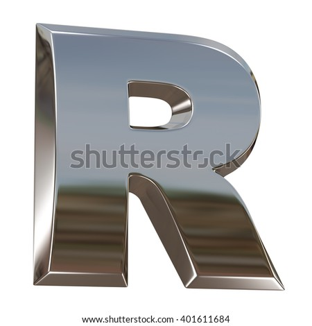 Alphabet letter from chrome. isolated on white. - stock photo