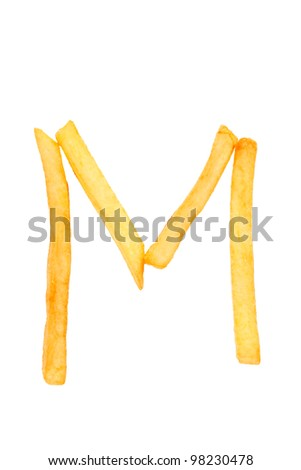 alphabet letter from French fries on the white - stock photo