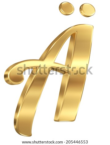 Alphabet letter from gold. isolated on white.