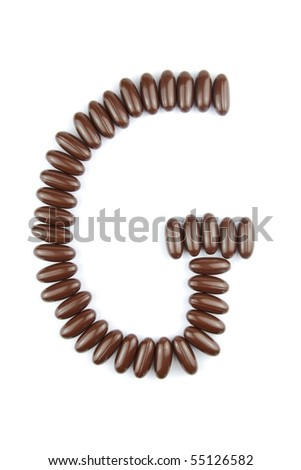 alphabet letter G with chocolate candies (isolated on white background)
