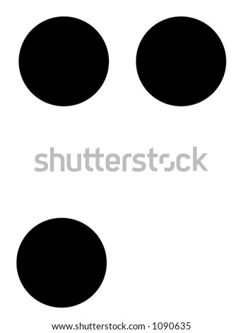 alphabet letter m in braille - stock photo