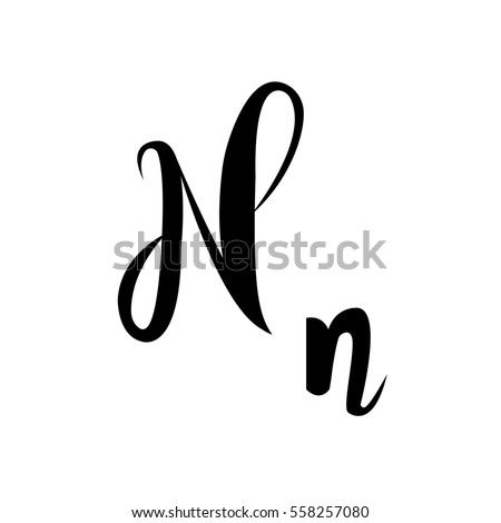 Alphabet Letter N Lettering Calligraphy Manuscript